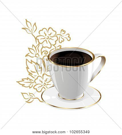cup of coffee isolated with floral design elements