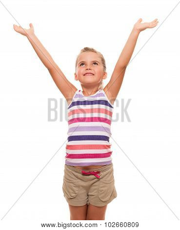 Cute little girl standing on white background with hands raised up
