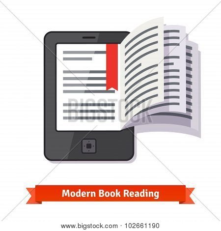 Ereader tablet pad concept with turning book pages