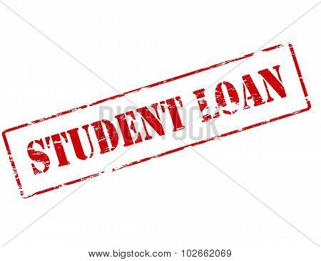 Rubber stamp with text student loan inside vector illustration poster