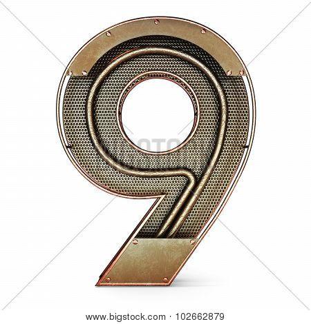 3d number nine 9 symbol with rustic gold metal