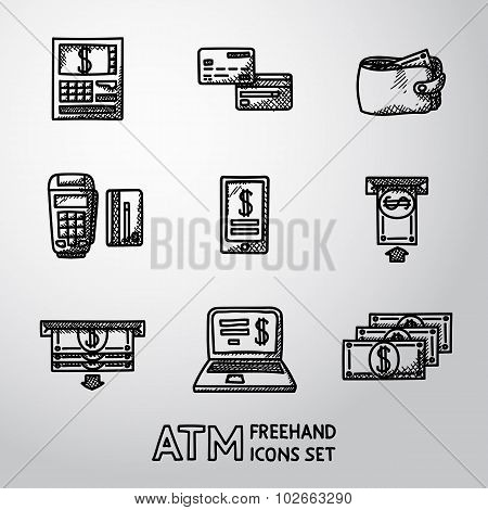 Set of freehand ATM icons with - ATM, cards, wallet, portable atm, smartphone, money transfer, noteb