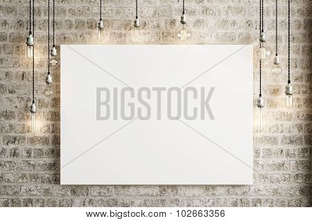 Mock up poster with ceiling lamps and a rustic brick background