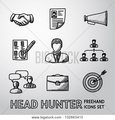 Set of handdrawn Head Hunter icons  - handshake, resume, mouthpiece, choice, employee, hierarchy, in