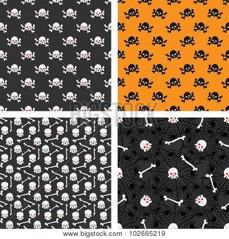 Skulls Seamless Patterns Set