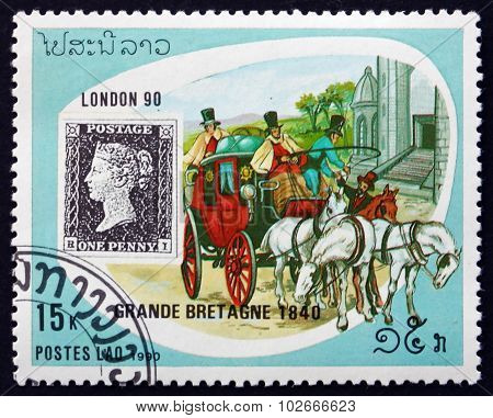 Postage Stamp Laos 1990 Stagecoach