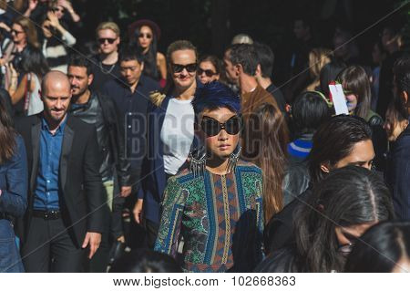 People Outside Pucci Fashion Show Building In Milan, Italy