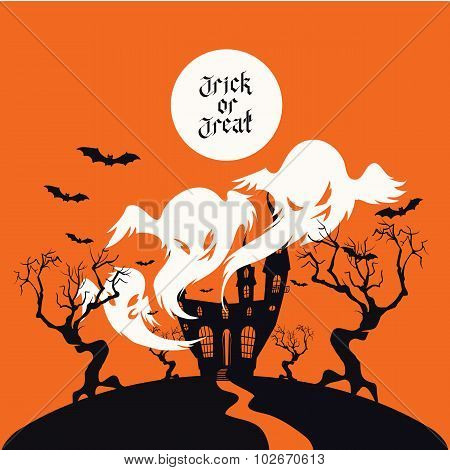 Spooky House Trick Or Treat card design