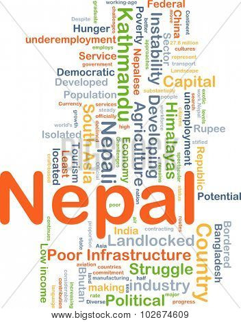Background concept wordcloud illustration of Nepal