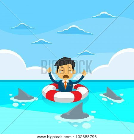 Businessman Sing Sea Water Lifebouy Sharks Around Concept Financial Crisis
