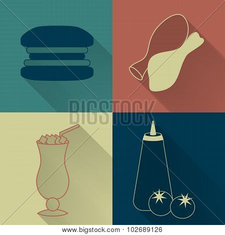 Set of four colored fast food icons
