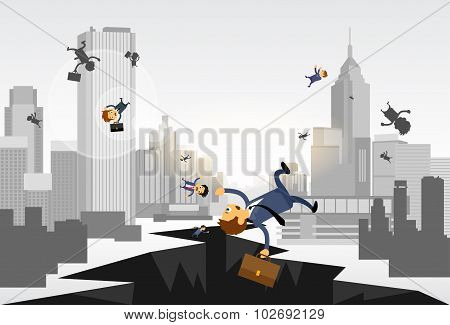 Business People Fall Down Hole Street Financial Crisis City Center Concept