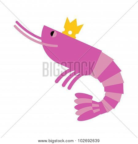 Royal Shrimp In Gold Crown. Giant Sea Cancroid. Vector Illustration Of Delicacy Food.