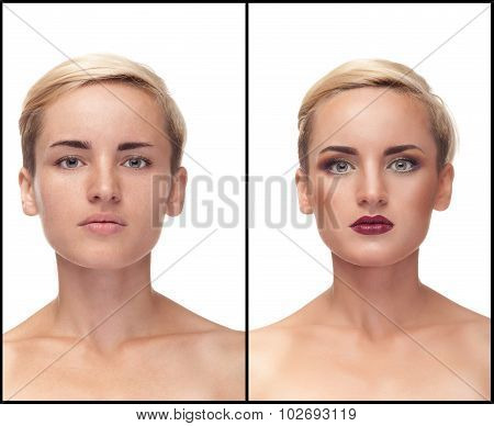 Collage Of Before And After Make Up