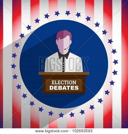 Election Debates Campaign Ad Flyer. Social Promotion Banner. American Flag's Symbolic Elements - Red Stripes and Blue Stars. Digital vector illustration. poster