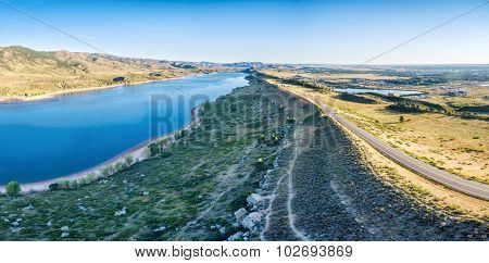 aerial panorama of northern part of the Horsetooth Reservoir with Centennial Road and hiking trails, Fort Collins, Colorado, late summer scenery