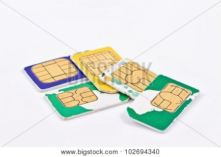 Simcards Of Different Mobile Service Providers And Russian Money