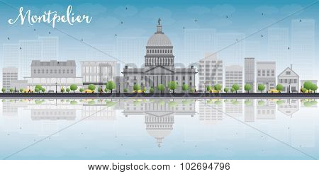 Montpelier (Vermont) city skyline with grey buildings, blue sky and reflections. Vector illustration
