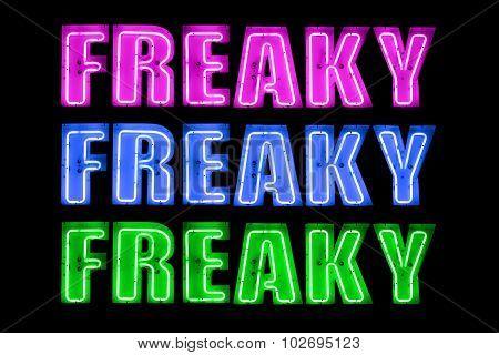 Neon Logo Saying Freaky