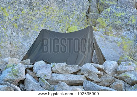 Tent in mountains.