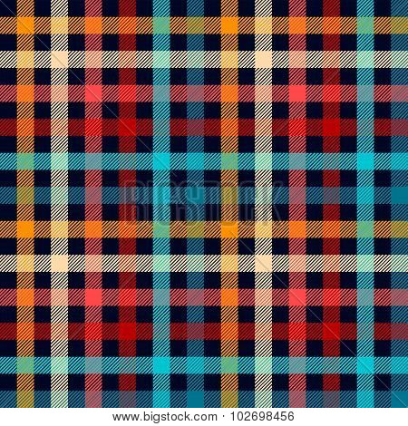 Colorful checkered gingham plaid fabric seamless pattern in blue white red and yellow, vector print