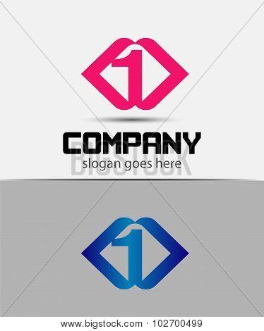 Number logo design. Number one logo. Logo 1 vector template