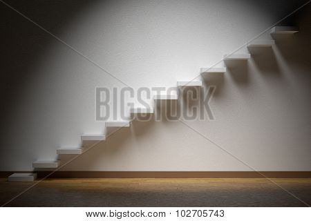 Ascending Stairs Of Rising Staircase In Dark Empty Room With Spot Light With Parquet Floor.