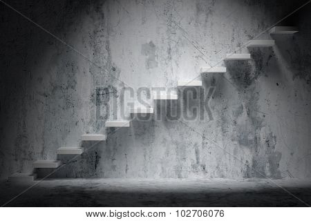 Ascending Stairs Of Rising Staircase In Rough Dark Empty Room With Spot Light