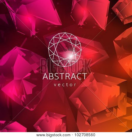 Abstract red background with glowing gems garnets and rubies poster