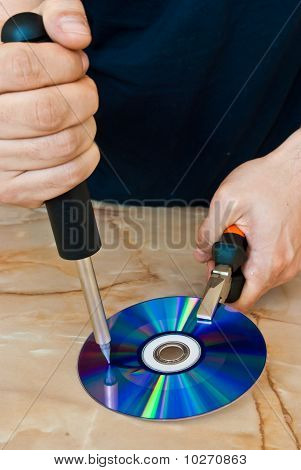 Compact Disc Being Destroyed