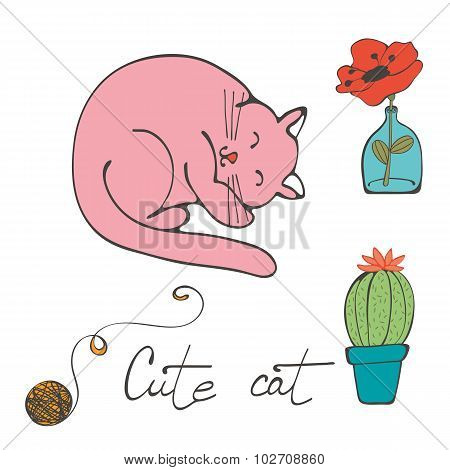 Illustration of a cat sleeping , flower in glass vase and cactus
