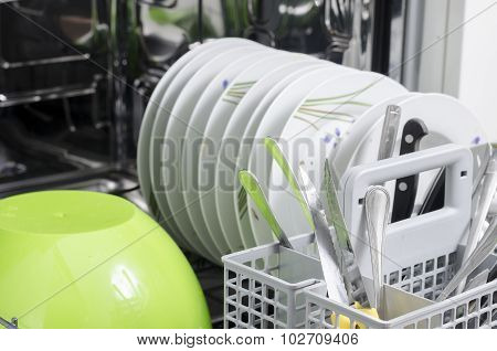 Dirty Dishes In The Dishwasher.