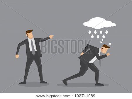 Unlucky Business Executive Gets Scolding Vector Cartoon Illustration