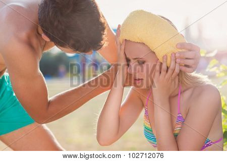 Young Woman With Heatstroke