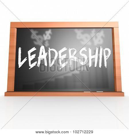 Black Board With Leadership Word