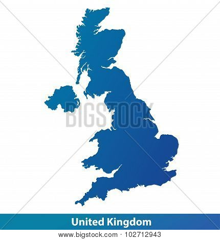 Map of UK United Kingdom. Silhouette isolated on a white background.
