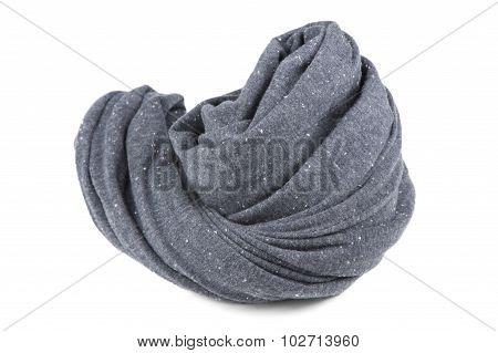 Folded Gray Neck Scarf Isolated On White Background