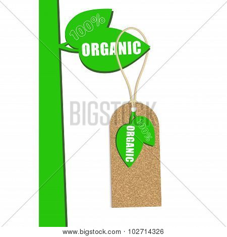 100% Organic Cork Natural Tag ,sale  Label . Vector Illustration