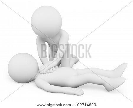 3D White People. Cardiopulmonary Resuscitation. Cpr