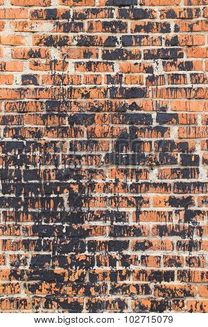 brick wall in protest stained black paint poster
