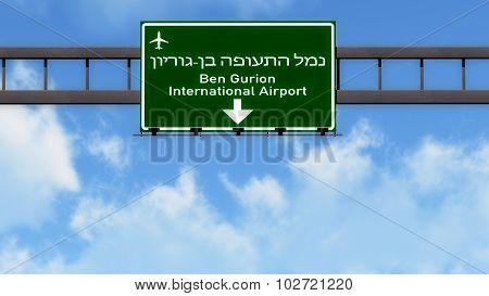 Tel Aviv Ben Gurion Israel Airport Highway Road Sign