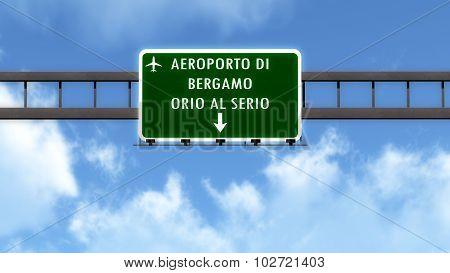 Bergamo Italy Airport Highway Road Sign