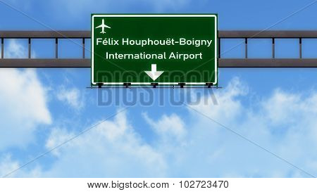 Abidjan Ivory Coast Airport Highway Road Sign 3D Illustration poster