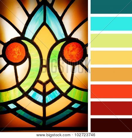 Art deco styles stained glass detail. In a colour palette with complimentary colour swatches.