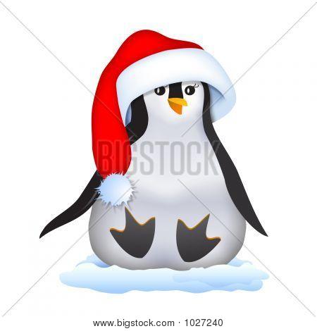 Christmas Penguin In Santa Hat