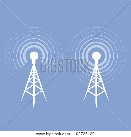 poster of Broadcasting tower icon - antenna silhouette on blue