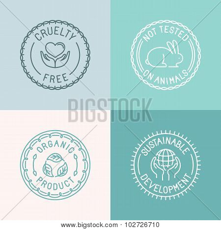 Vector Set Of Badges And Emblems In Trendy Linear Style For Organic And Natural Cosmetic Packaging