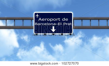 Barcelona Spain Airport Highway Road Sign
