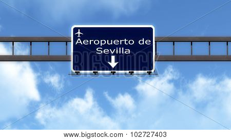 Sevilla Spain Airport Highway Road Sign