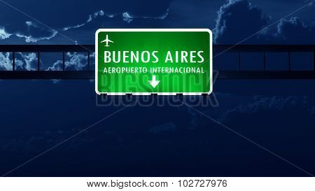 Buenos Aires Argentina Airport Highway Road Sign At Night